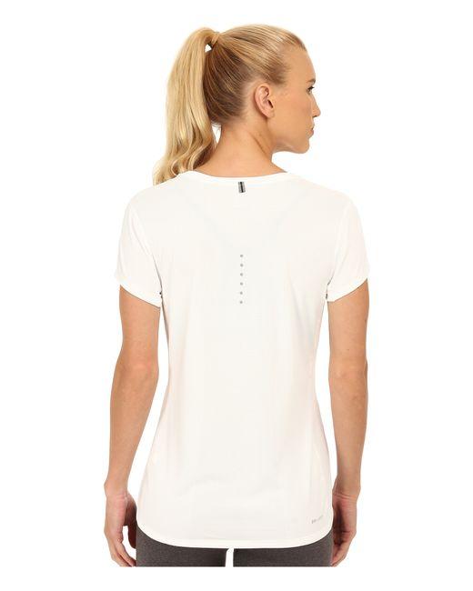 Nike   White Dri-fit™ Contour Short Sleeve   Lyst