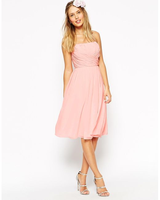 ASOS | Wedding Midi Dress With Ruched Wrap Front - Pink | Lyst