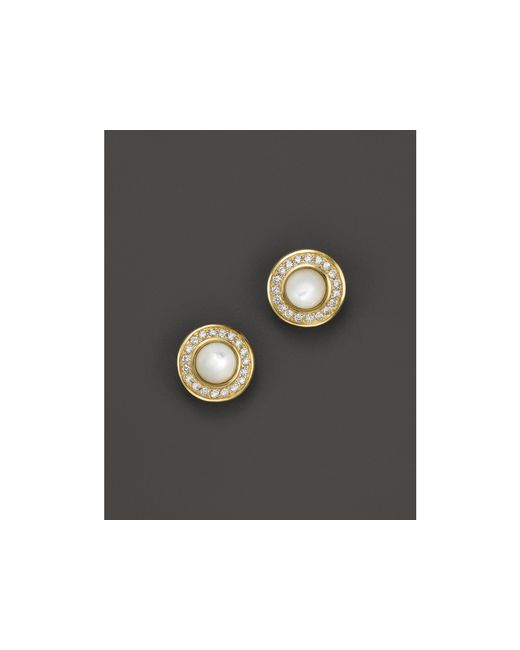 Ippolita | White 18k Lollipop Mini Stud Earrings In Mother-of-pearl With Diamonds | Lyst