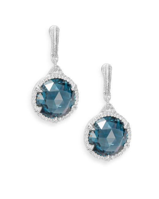 Judith Ripka | Eclipse London Blue Spinel, White Sapphire & Sterling Silver Earrings | Lyst