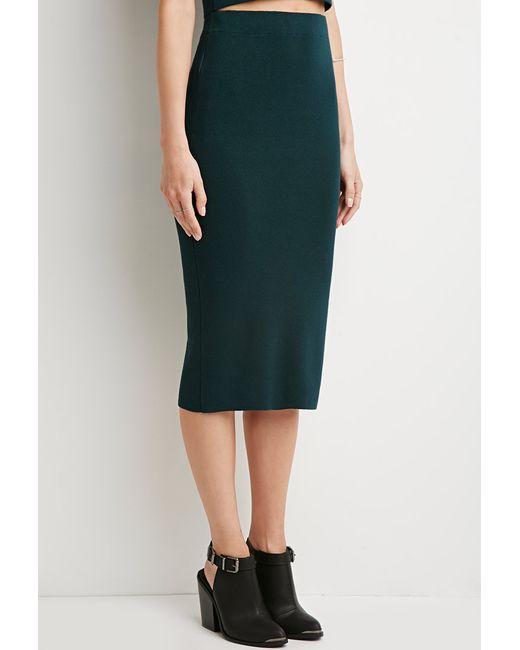 Forever 21 | Green Ribbed Side-zipper Midi Skirt | Lyst