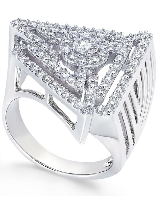 Macy's | Metallic Diamond Triangle Ring In 14k White Gold (1-1/5 Ct. T.w.) | Lyst