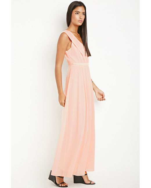 Forever 21 | Orange Bejeweled Waist Maxi Dress | Lyst