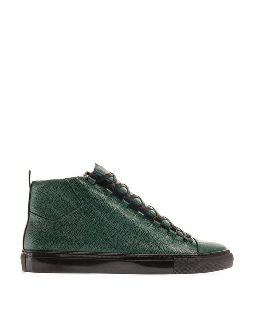 Balenciaga | Green Arena High-top Leather Trainers for Men | Lyst
