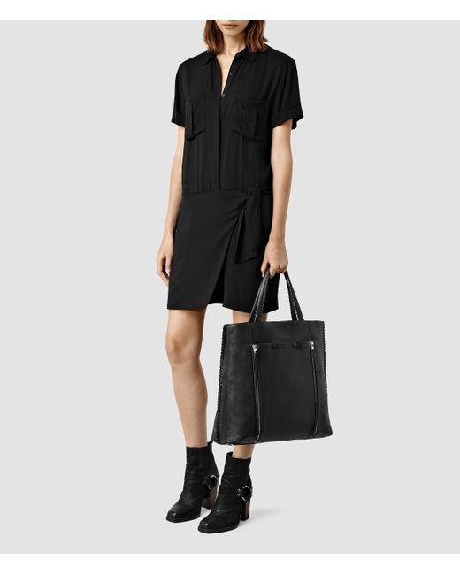 AllSaints | Black Fleur De Lis North South Tote | Lyst