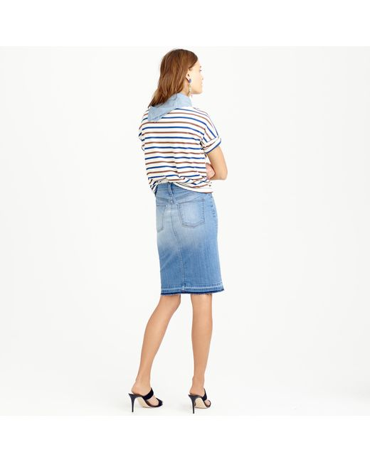 j crew frayed denim pencil skirt in blue doran wash lyst