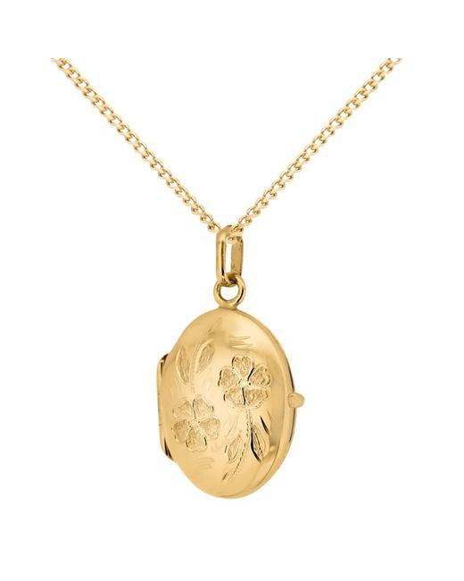 Ib&b   Metallic 9ct Yellow Gold Daisy Oval Locket Pendant Necklace   Lyst