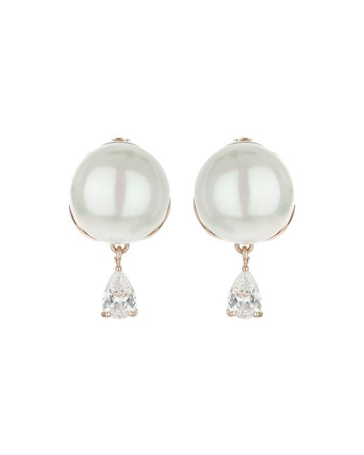 Mikey | White Pearl Stud Drop Cubic Earring | Lyst