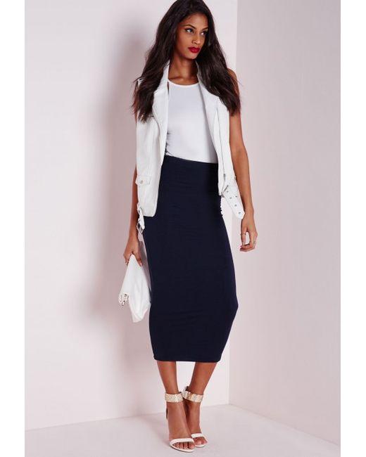 missguided longline jersey midi skirt navy in blue navy