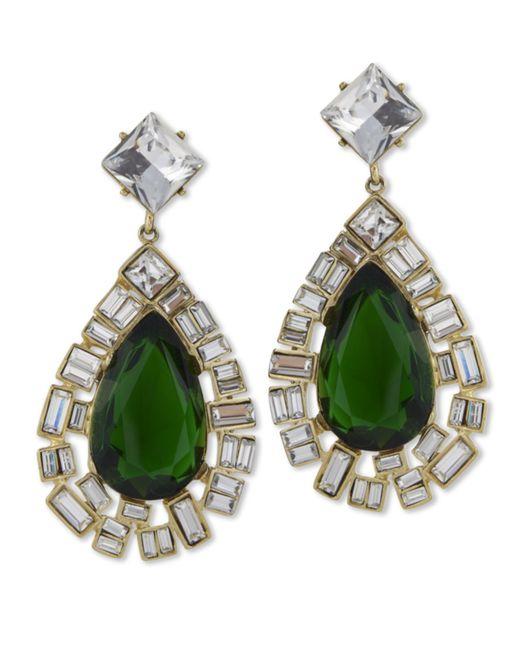 Kenneth Jay Lane | Green Emerald Teardrop Clip Earring | Lyst