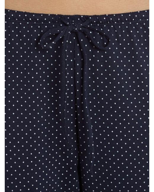 Lauren by Ralph Lauren   Blue 3/4 Sleeve Classic Notch Collar Top And Capri Pajama Pants   Lyst
