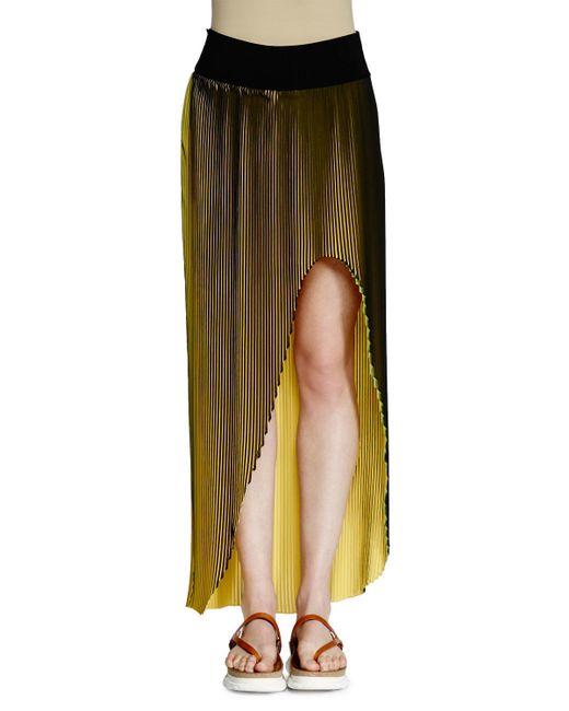 stella mccartney jeanne high low plisse maxi skirt in
