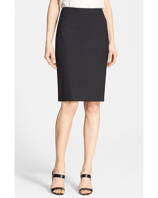 Theory | Black Stretch Wool Pencil Skirt | Lyst