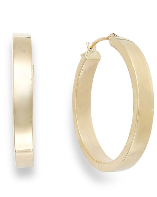 Macy's | Metallic Bold Hoop Earrings In 10k Gold, 25mm | Lyst