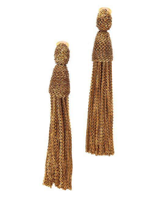 Oscar de la Renta | Brown Classic Long Chain Tassel Earrings | Lyst