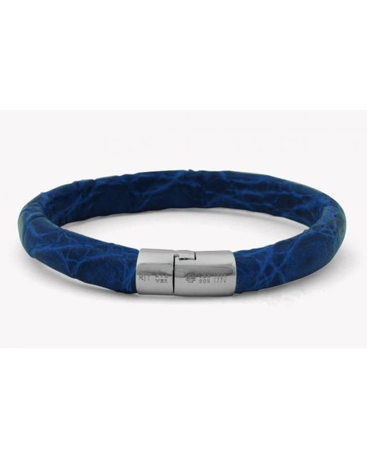 Tateossian | Caiman Bracelet In Blue Leather With Silver Clasp for Men | Lyst