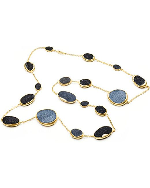 Annoushka   Blue Drusy 18ct Yellow-gold And Onyx Long Necklace   Lyst