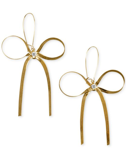 Betsey Johnson | Metallic Gold-tone Bow Earrings | Lyst