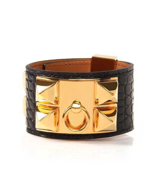 Hermès | Black Matte Alligator Collier De Chien Bracelet | Lyst