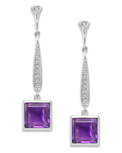 Macy's   Metallic Sterling Silver Earrings, Amethyst (6-3/4 Ct. T.w.) And Diamond (1/6 Ct. T.w.) Long Drop Square Earrings   Lyst