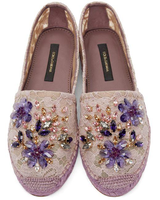 Dolce Amp Gabbana Purple Embellished Lace Espadrilles In