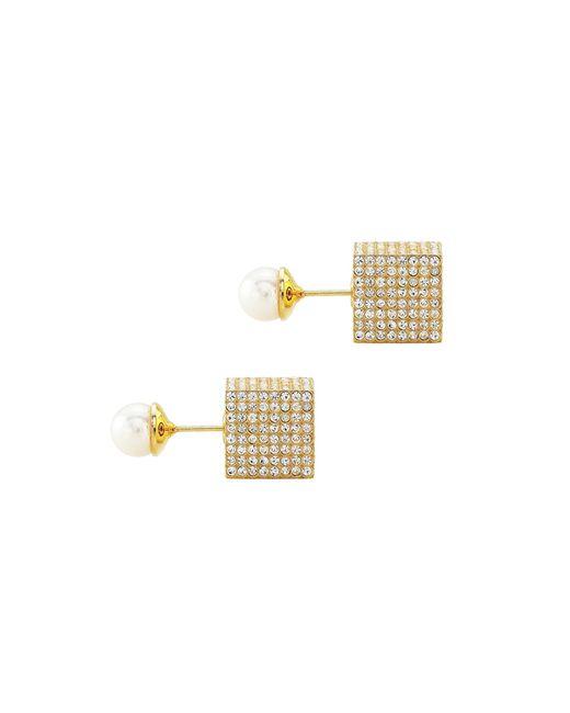 Vita Fede | Metallic Jumbo Doubleâ cuboâ pearl Earrings In Yellow Gold And Pearl | Lyst