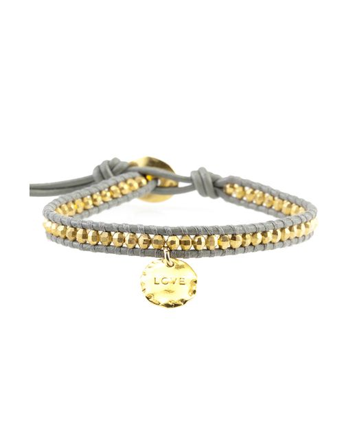 Chan Luu | Metallic Gold Bead On Coconut Leather Bracelet With Love Charm | Lyst