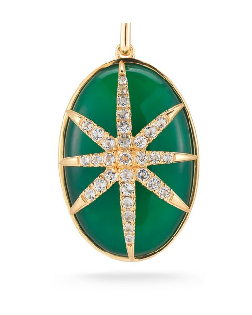 Elizabeth and James | Green Agate Star Oval Pendant | Lyst