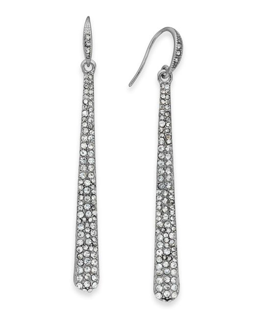 ABS By Allen Schwartz | Metallic Silver-tone Crystal Pave Linear Drop Earrings | Lyst