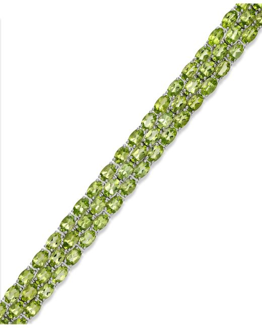 Macy's | Green Peridot Three-row Bracelet In Sterling Silver (25 Ct. T.w.) | Lyst