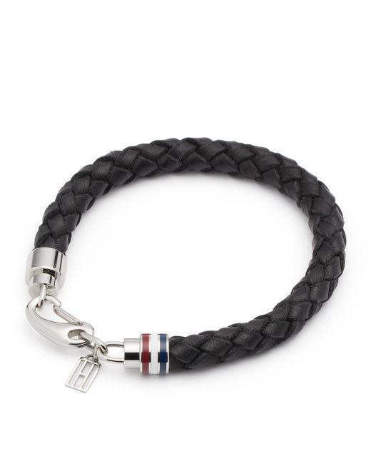 Tommy Hilfiger | Black Leather & Chain Bracelet for Men | Lyst