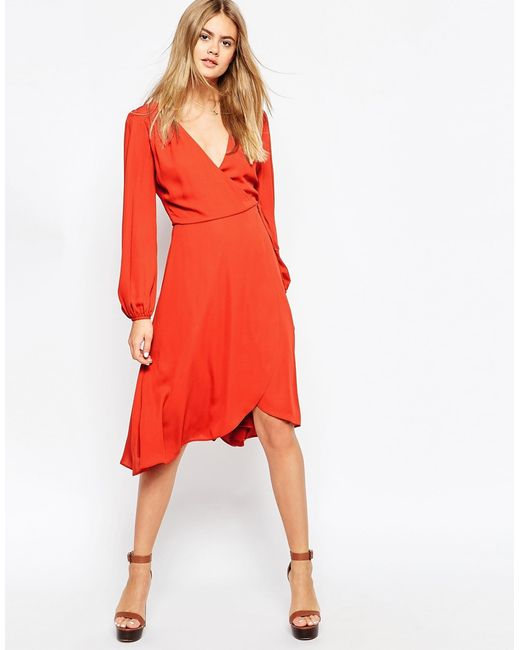 ASOS | Red Midi Dress With Blouson Sleeves And Wrap Front | Lyst