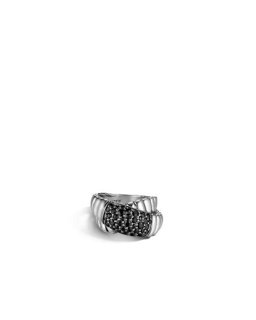 John Hardy   Metallic Classic Chain Overlap Ring With Black Sapphire   Lyst