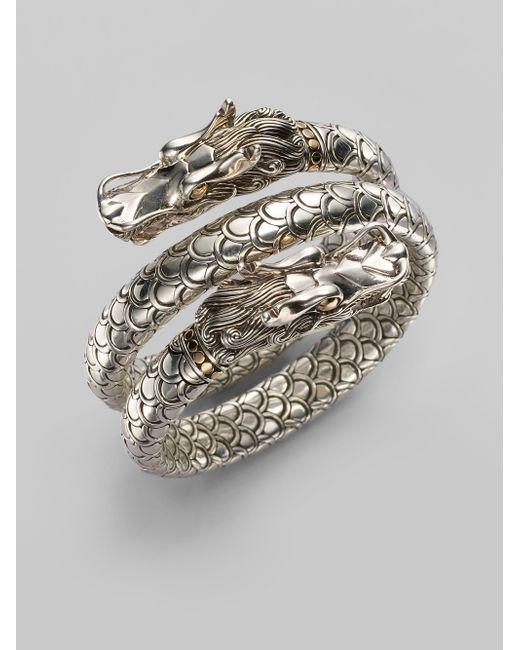 John Hardy | Metallic Naga 18k Yellow Gold & Sterling Silver Dragon Head Double Coil Bracelet | Lyst