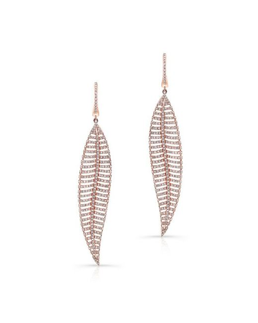 Anne Sisteron | Pink 14kt Rose Gold Diamond Feather Earrings | Lyst