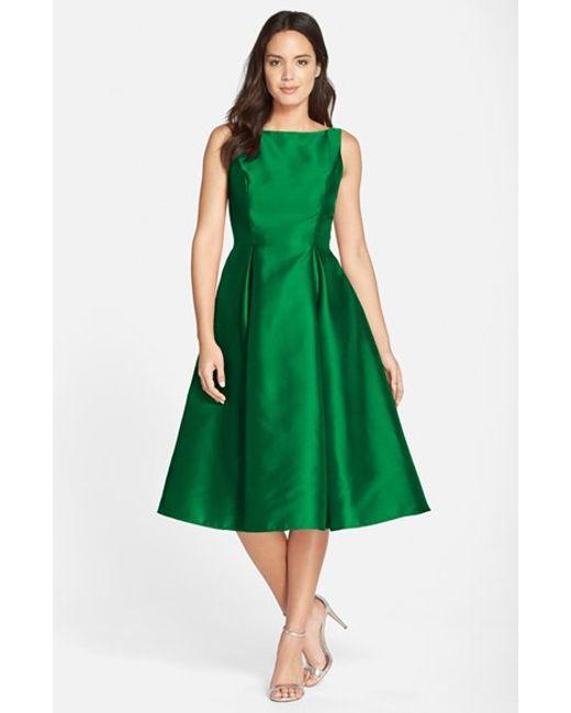 Adrianna Papell   Green Sleeveless Mikado Fit & Flare Midi Dress   Lyst