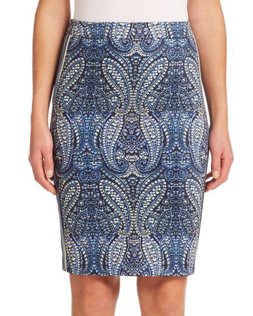 Nanette Lepore | Gray Paisley Print Pencil Skirt | Lyst