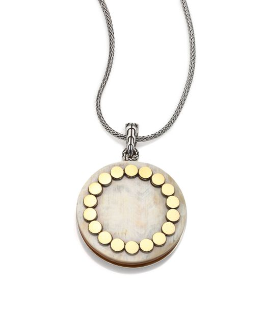 John Hardy | Metallic Dot Buffalo Horn, 18k Yellow Gold & Sterling Silver Large Locket Necklace | Lyst