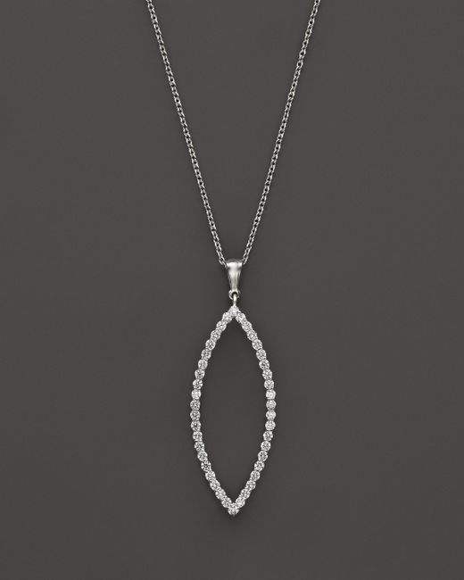 "Roberto Coin | 18k White Gold Diamond Open Pendant Necklace, 18"" | Lyst"