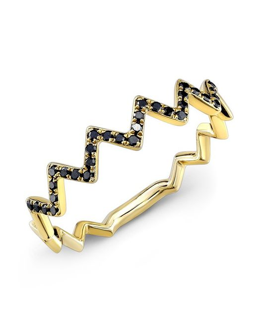 Anne Sisteron | Metallic 14kt Yellow Gold Black Diamond Zig Zag Stacking Ring | Lyst