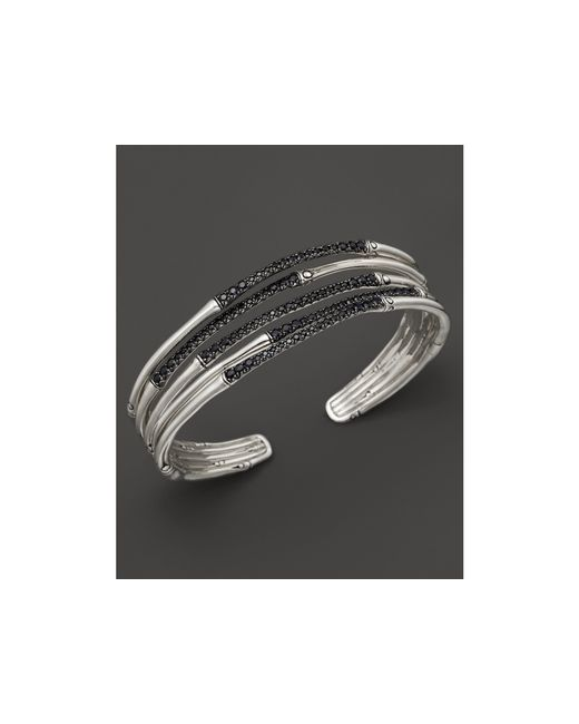 John Hardy | Metallic Bamboo Silver Lava Narrow Flex Cuff With Black Sapphires | Lyst