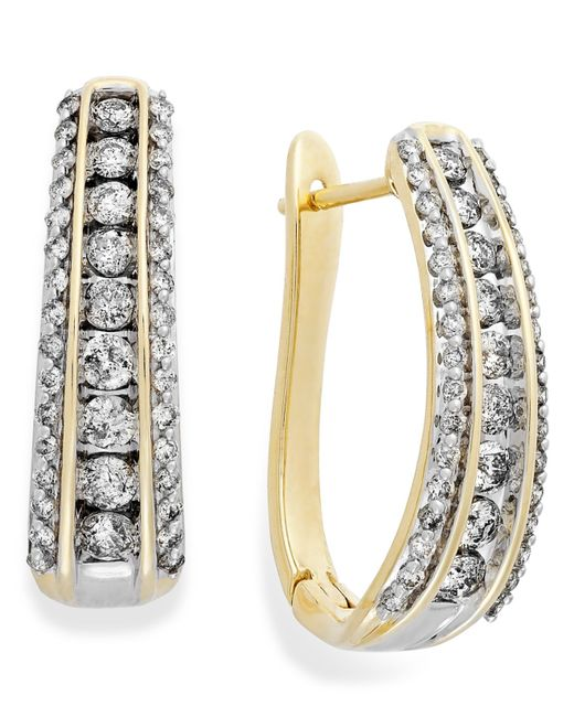 Macy's | Metallic Diamond Channel J-hoop Earrings In 10k White Or Yellow Gold (1 Ct. T.w.) | Lyst