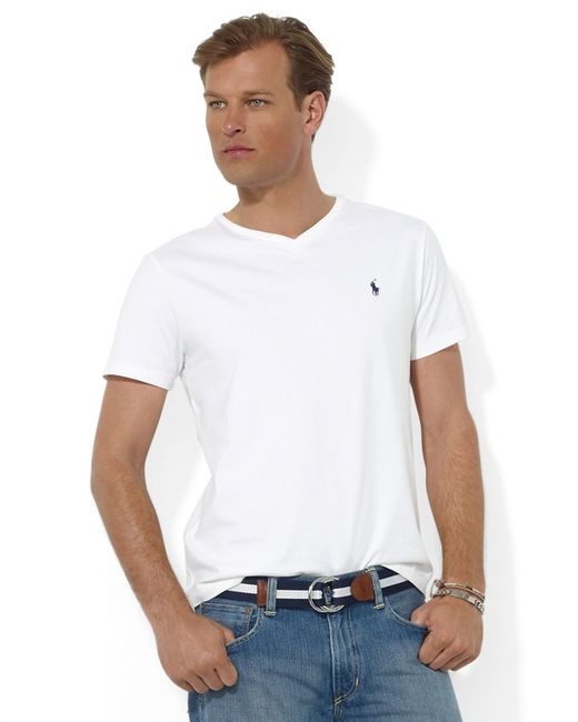 Polo Ralph Lauren Short Sleeved V Neck T Shirt In White