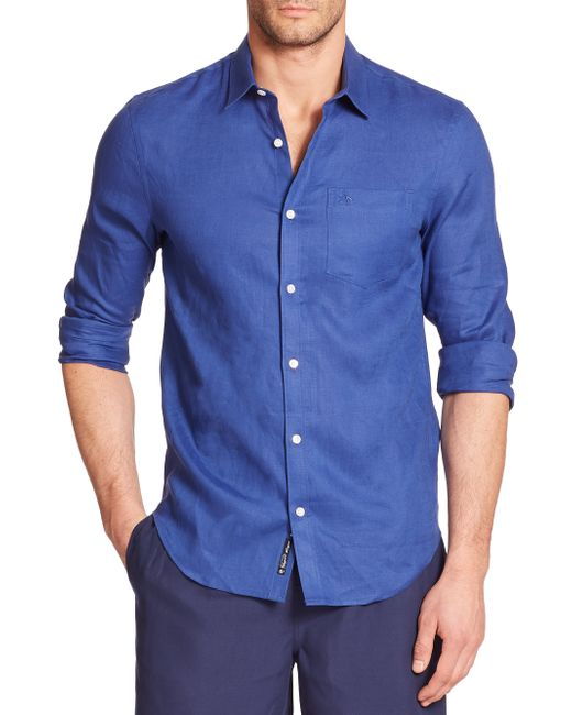 Original Penguin | Blue Solid Linen Sportshirt for Men | Lyst