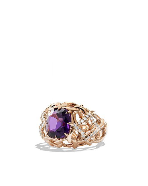 David Yurman | Pink Venetian Quatrefoil Ring With Amethyst And Diamonds In Rose Gold | Lyst