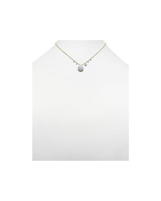 Meira T | White 14k Yellow Gold Blue Lace Chalcedony Necklace, 16"