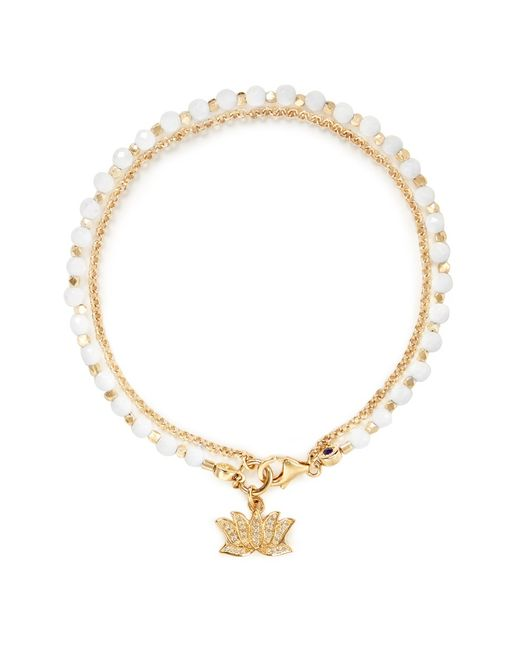 Astley Clarke | 'Lotus' 18K Gold White Agate Friendship Bracelet - Peace & Truth | Lyst