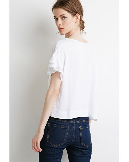 Forever 21 | White Contemporary Ruffled Sleeve Boxy Top | Lyst