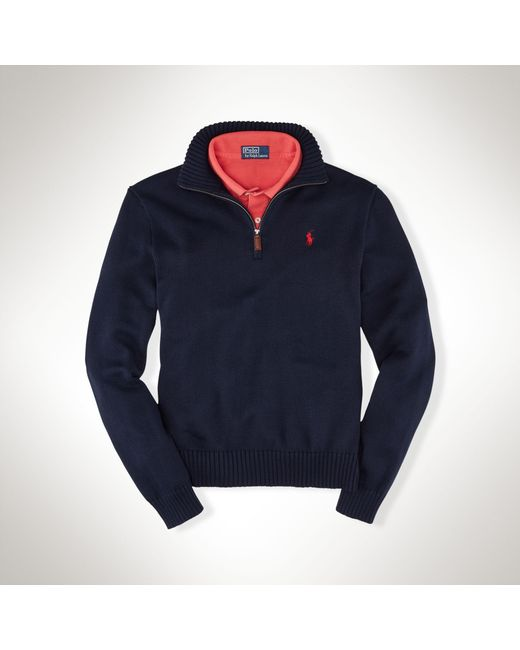 Polo Ralph Lauren | Blue Half-zip Cotton Sweater for Men | Lyst