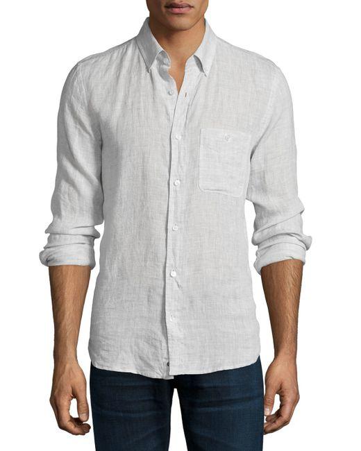 7 for all mankind long sleeve linen shirt in white for men for Mens light blue linen shirt